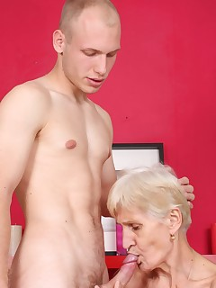 Naughty grandma Irene is all smiles as she warms up a cock with her mouth and gets screwed