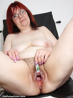 Senior Adela  opens her senior piss-hole wide for gyno clinician at clinic