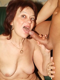 Redhead granny Paula dishes out a hot head before she gets her experienced pussy rammed with dick