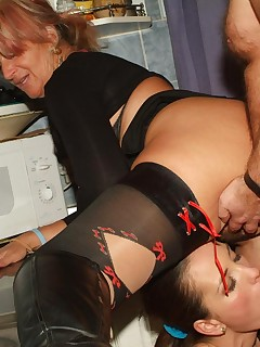 Naughty older babe Christina gets her share of cock plugging in this hot threesome romp