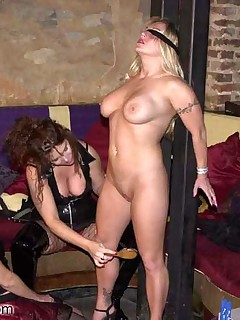 3 women tie up each other for fun and sexy BDSM fun at a club.