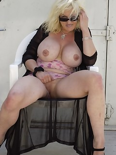 old fat slutty blonde showing herself off