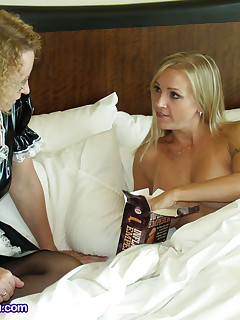 Hot blonde fucks naughty maid and goes beyond the call of duty