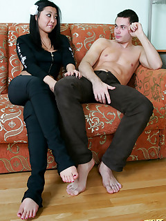 A couple starts slow, but their sexy mature teacher joins and turns it into an anal frenzy