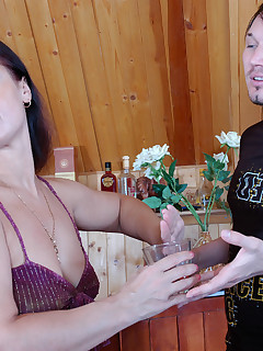Hot milf milks a guy with her yummy ass before taking another glass of wine