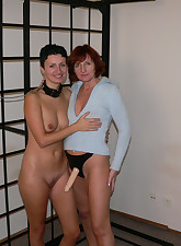 two horny mature lesbians playing with a strap on