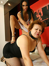 Mature lesbian slave gets her fill