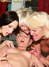 A group of sexy and naughty moms play nasty lesbian games indoor and near poolside
