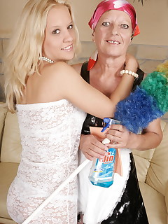 Hot blonde babe doing her mature lesbian maid