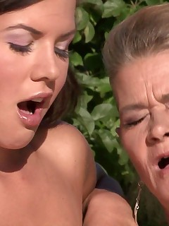 Guys girlfriend seduced by his horny mother outdoors and he saw everything