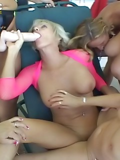 Sex-crazed mature women enjoy having outdoor lesbian orgy party with dildos
