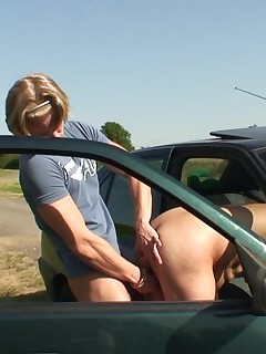 The sun is shining and her granny pussy is getting fucked outdoors and she loves it