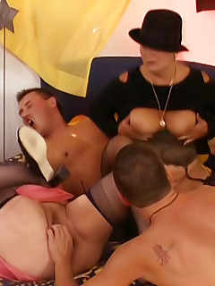 Three horny couples  mature couples gather for a sexy swingers party and swap slutty wives.