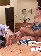 Older husband watches young horny wife fuck a stranger as part of a birthday present