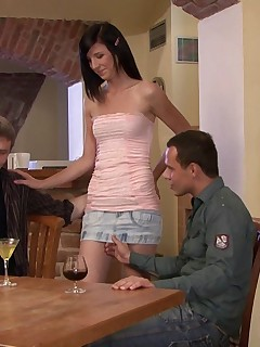 Brunette trophy wife makes hubby watch as she gets boned hard in their brand new home