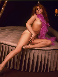 Burlesque brunette gives a sensual show with her hairy slit