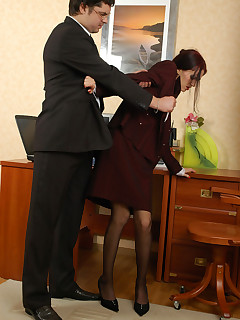 Outrageously hot secretary getting her yummy banghole ploughed close-up
