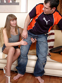 Nasty mom with long pantyhose clad legs makes a guy cheat on his girlfriend