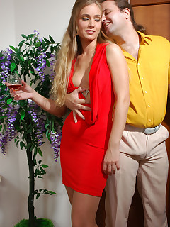 Tipsy blonde in a red gown gets her booty fingered and filled by her date