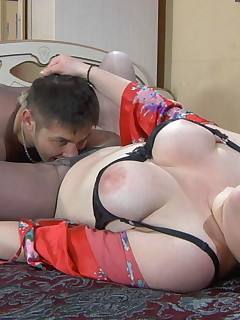 Raunchy mature chick and her sex-crazy lover going for pantyhose pastime