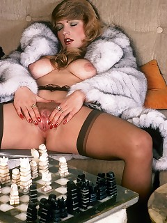 Classic hot lady in furry coat masturbates and fucks hard