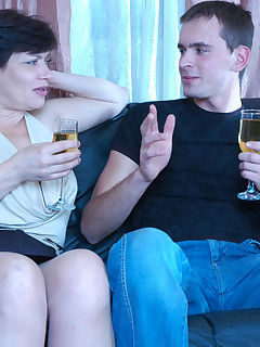 Lewd milf in control top hose having wild after-party with hot sex and wine