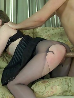 Kinky milf ready to tear her lacy pantyhose while fucking with a horny stud