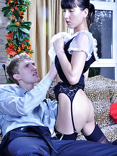 Upskirt French maid gets ass licked and banged for a wide gaping asshole