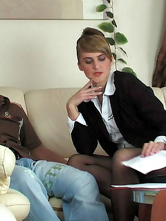 Mature secretary in nylon pantyhose bending over on the spot at lunch hour