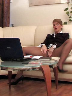 Hot mature secretary eagerly getting impaled on cock with her pantyhose on