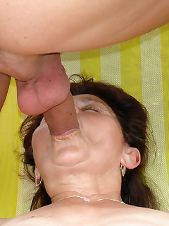 Naughty old mama gets her old pussy fucked outdoors