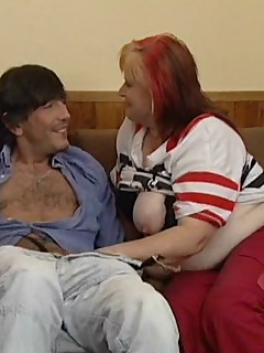 Sexy granny sucks dick and rides on top