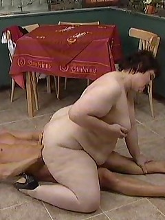 Granny rides cock and takes it doggy style