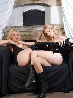 Frankie and Leigh look amazing in their PVC leather boots