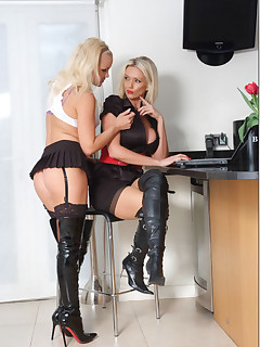 These blonde sluts always get so horny when they wear leather boots