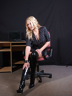 Sexy Shay would love to be your leather boot wearing office slut
