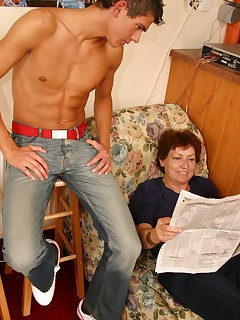 Sweet lad comes to pleasure the old smiling granny