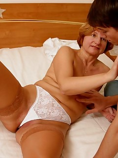 MILFs young lover was invited to give a drive-test to her new bed and she was happy to spread her legs for his huge dick