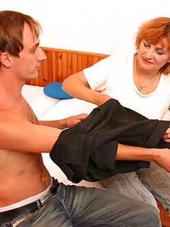 Older lady undresses her sweet younger lad in need for sex