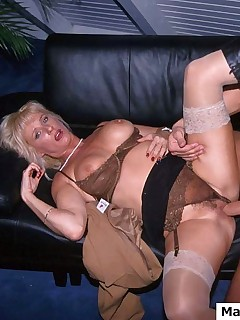 Horny MILF gets two hard cock to get fucked with at the same time