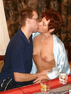 Lustful mature rides a hard pecker indoors