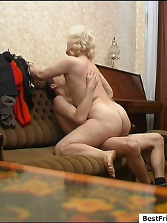 Horny mature pussy enjoys wild fucking with her sons best buddy