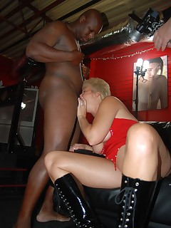 Tracy gives one black stud a blowjob, but his friend wants one too