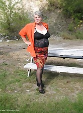 Girdlegoddess outdoors on a sexy fall day Sexy did someone say SEXYLet me seduce you in my black rago open bottom girdleand black stockings