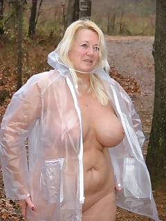 How about a seethru raincoat on a rainy day  with nothing on under it  Wet and clinging