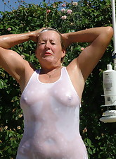 Like the wet tshirt look  Here are some great shots in my outdoor shower  and wouldnt you like to be the one lathering my pussy for its shave  soooo smooth
