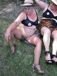 Girdlegoddess and Mistress Sue a couple of mature sexy cougars on the prowl in the great outdoors Check out the sexy nipple bras filled with luscious nipples..